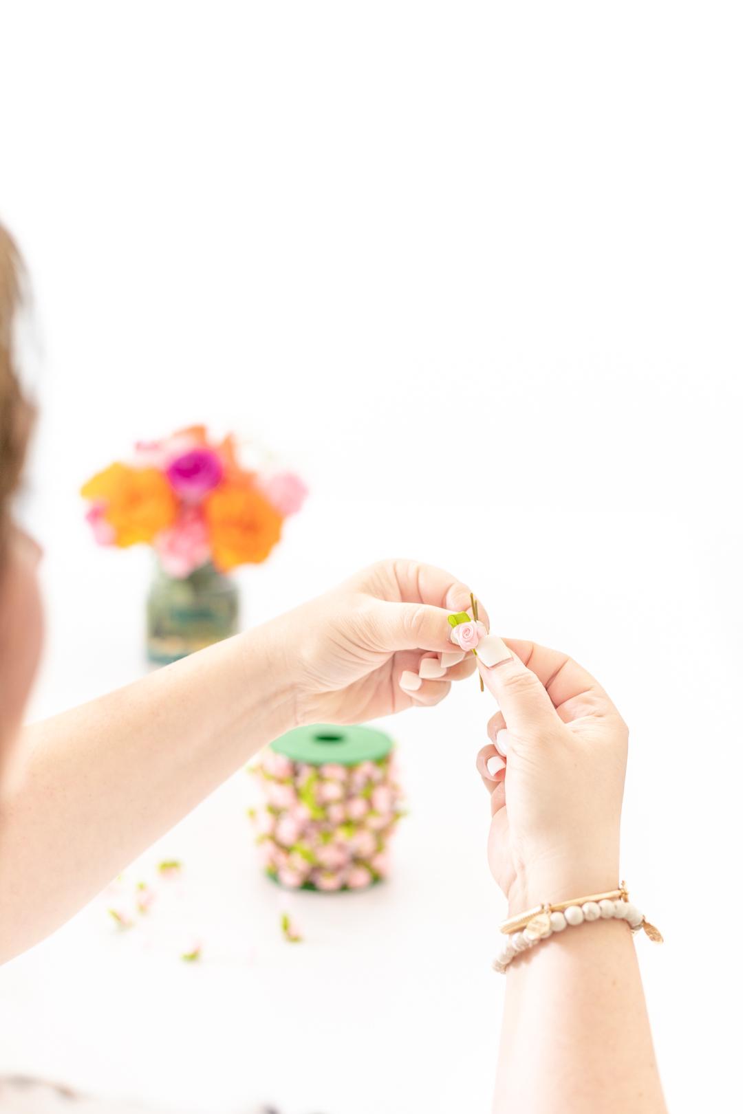flower hair pin making