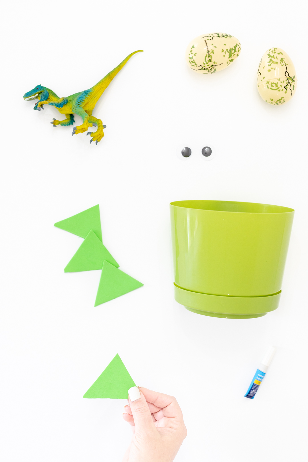 items needed to make a dinosaur easter basket that is homemade