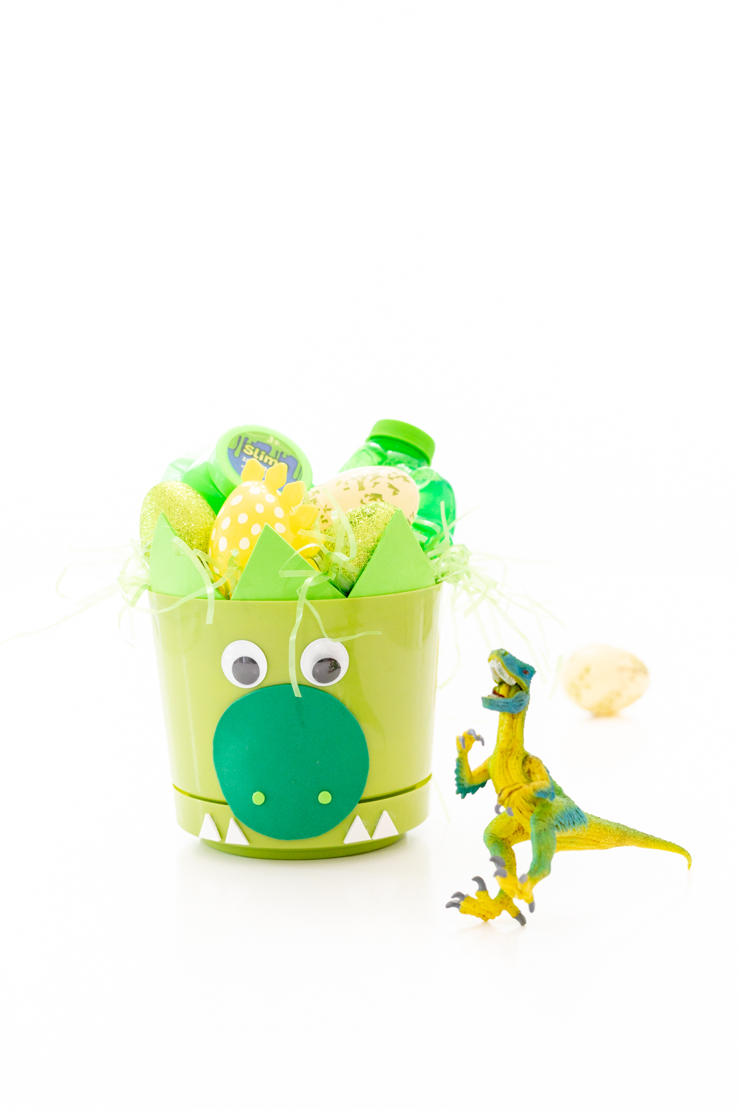 Dinosaur Easter Basket and Dino figure and fillers