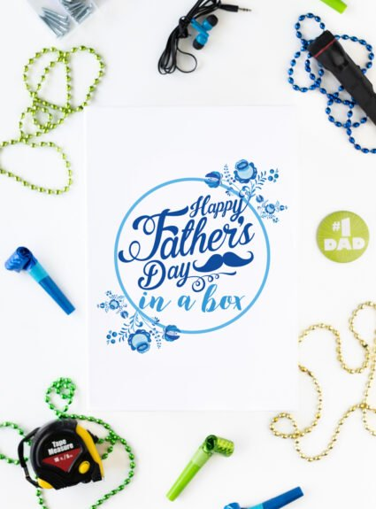 gift box with happy father's day message on top