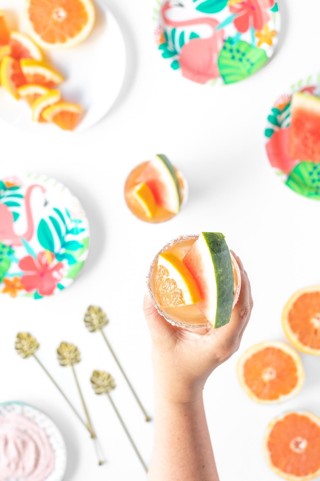 grapefruit and watermelon garnish