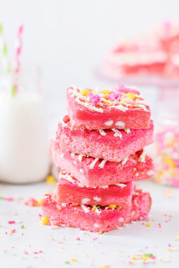 stack of pink dessert bars