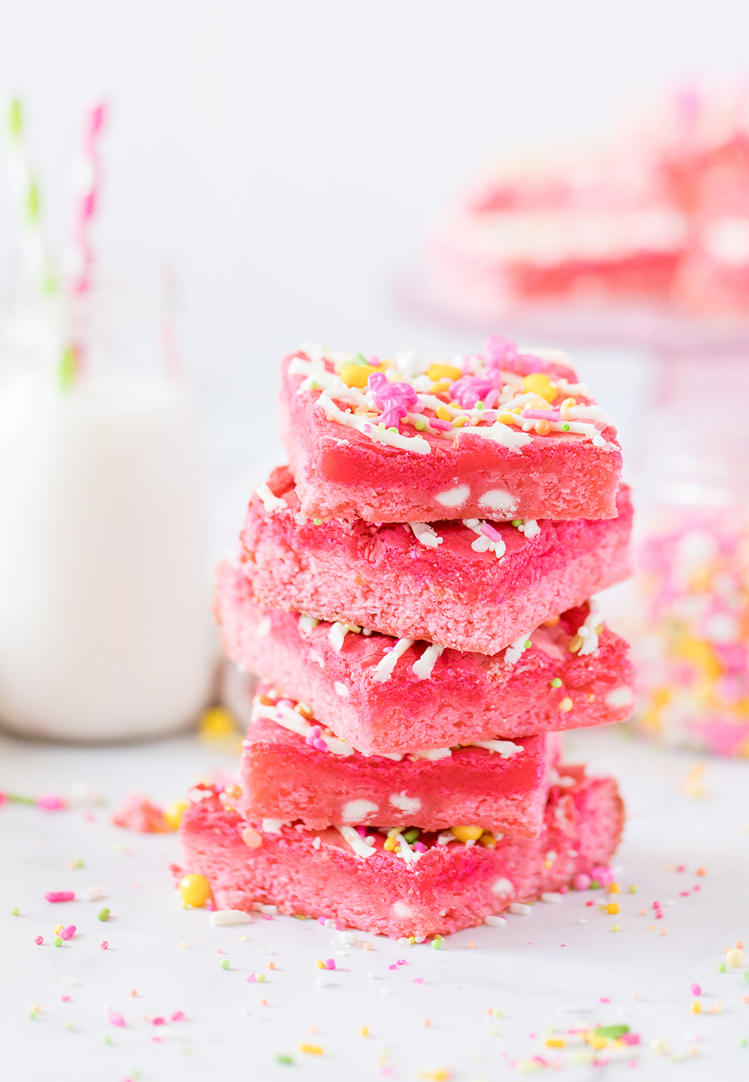 stack of pink dessert bars