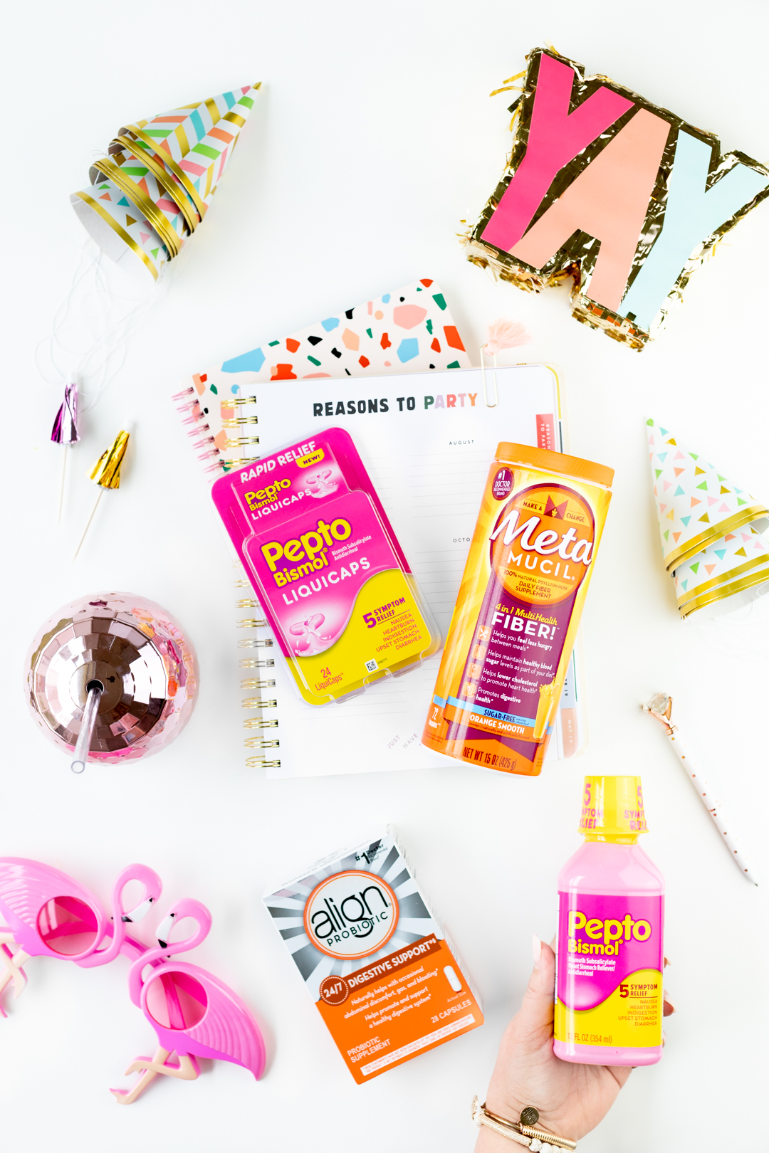 Various digestive products like Pepto Bismol