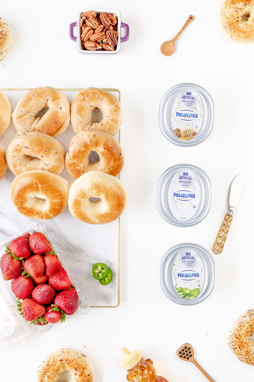 Setting up an easy bagel bar.