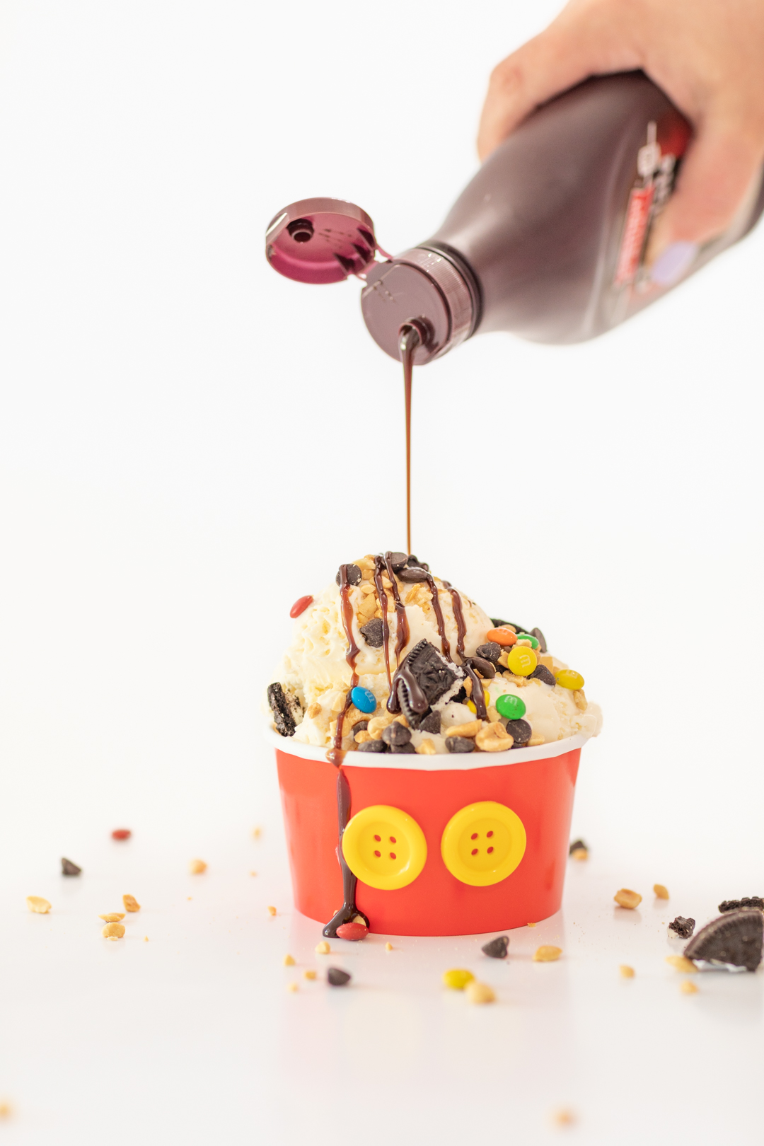 Chocolate Drizzle on Mickey Mouse Sundae
