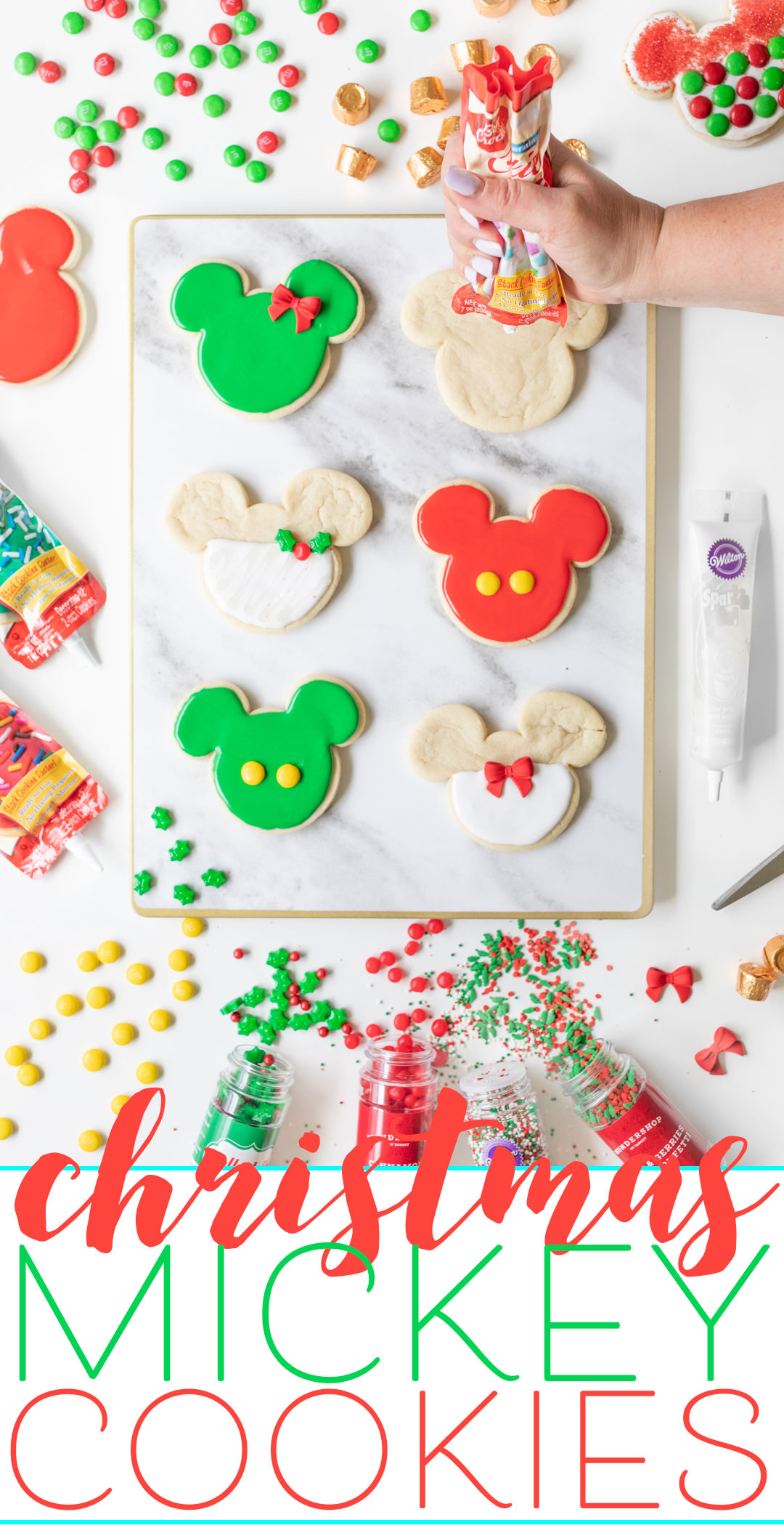 Mickey Christmas Cookies for an easy Disney inspired holiday DIY at home.