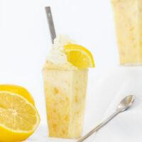 Easy Dessert Topped with Lemon Wedge Garnish