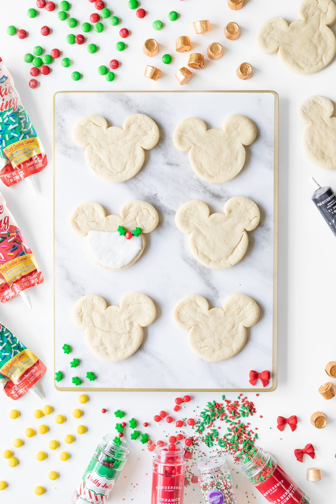 Plain Mickey Mouse Sugar Cookies with Christmas Cookie Decorating Supplies