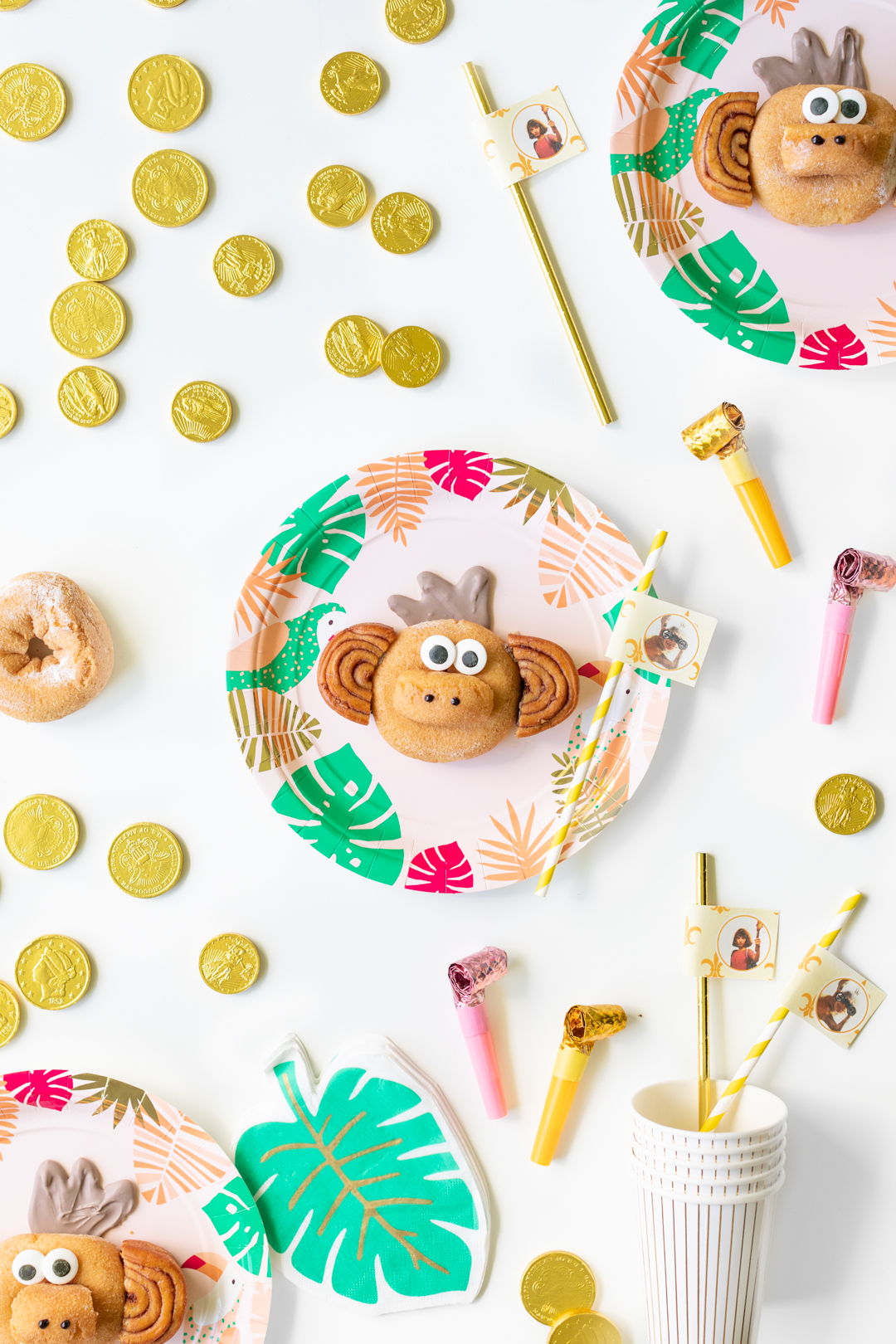 Cute Monkey Donut Creation in a jungle tropical party setting