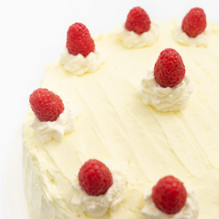 Whipped Lemon Frosting with Fresh Raspberries and Whipped Cream
