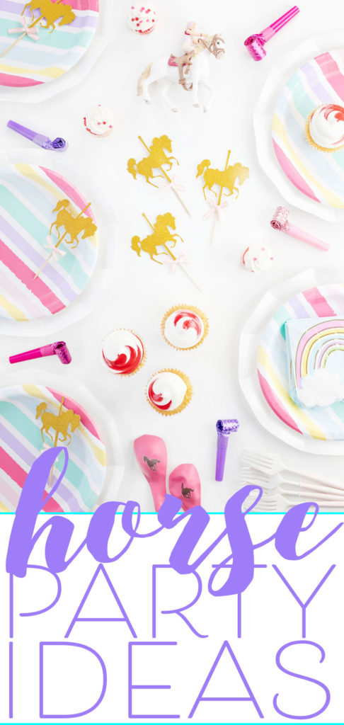 Horse Party Ideas for Girls. Pink and Gold Horse Supplies and Best Horse Birthday Tips and Gift Ideas.