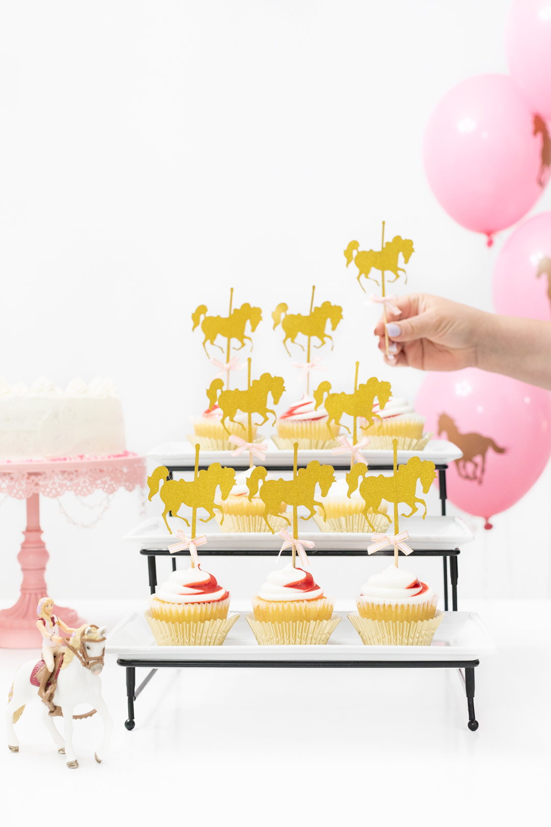 Gold and Pink Horse Cupcake Toppers