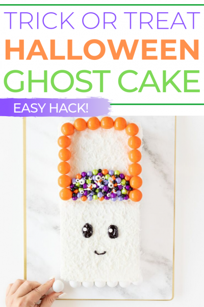 Easy Halloween Cake Hack that I totally LOVE. So simple even kids can make it and no baking required.