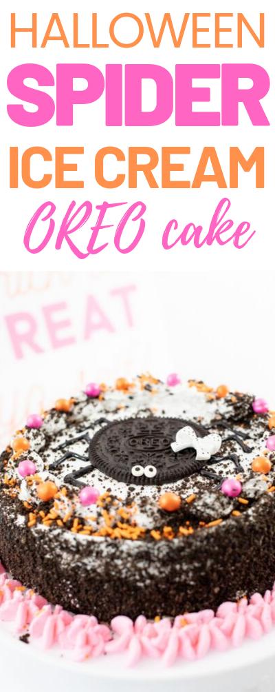 Spider Cake for Halloween. Delish OREO ice cream cake hack is life.