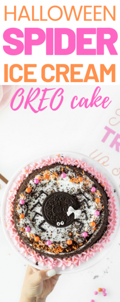 OREO Ice Cream Cake Spider. Such and easy Halloween Party Cake Idea.