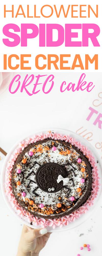 OREO Ice Cream Cake Spider. Such and easy Halloween Party Cake Idea.