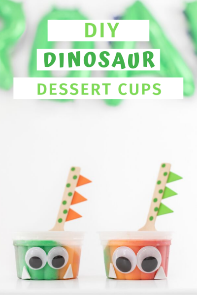 Dinosaur Dessert Cups for Dino themed parties and playdates.