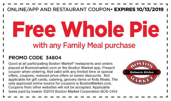Free pie at Boston Market
