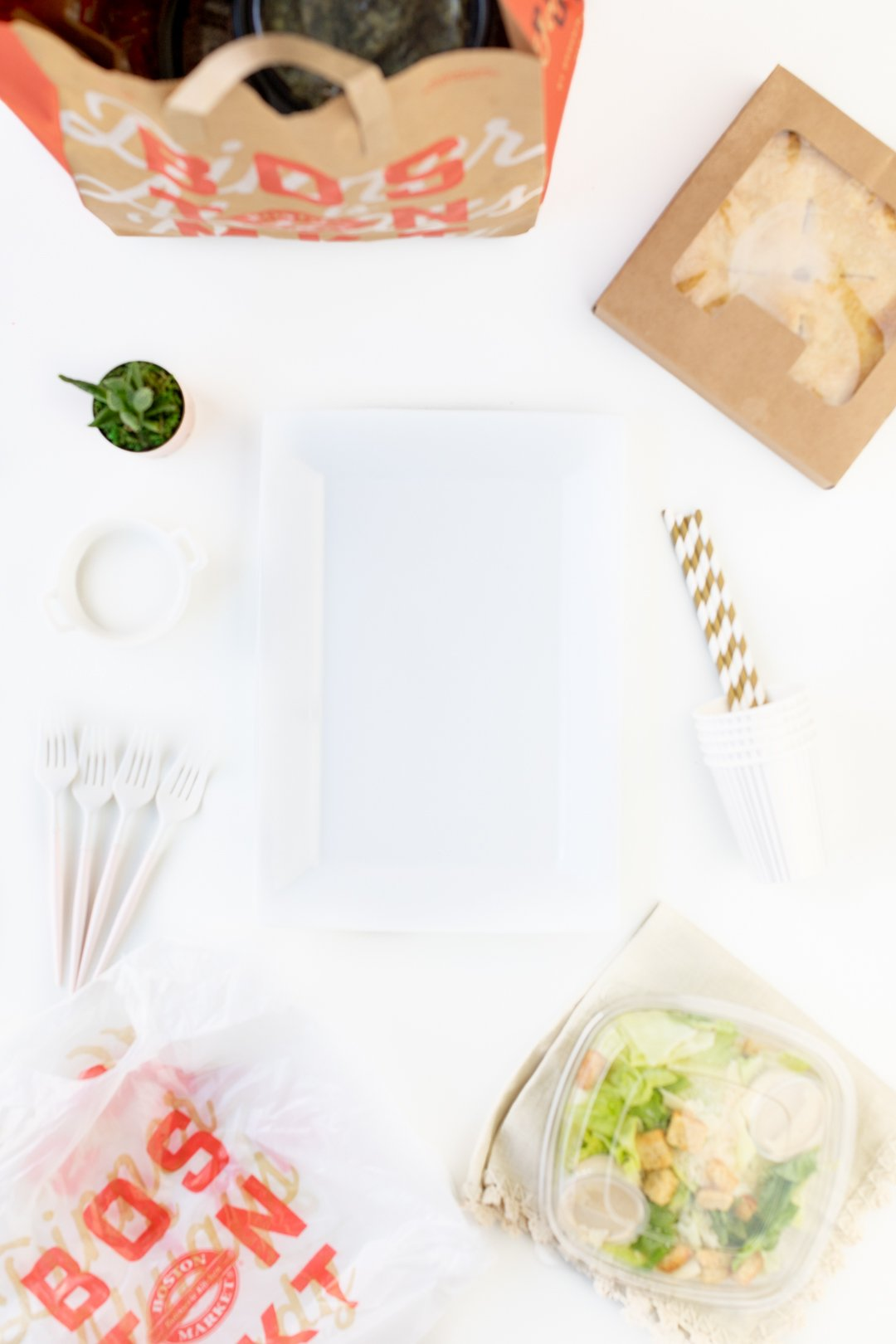 Basic dinner table set up with serving items