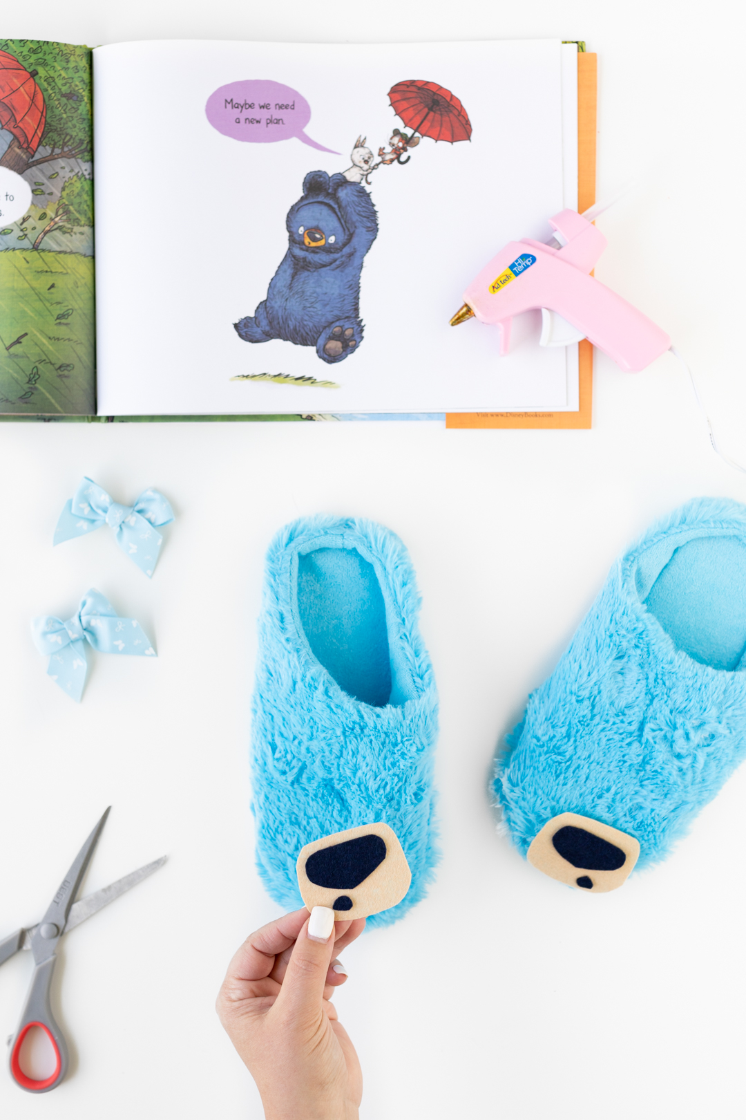Blue Bear Slippers DIY Supplies to Celebrate Bruce's Big Storm book.