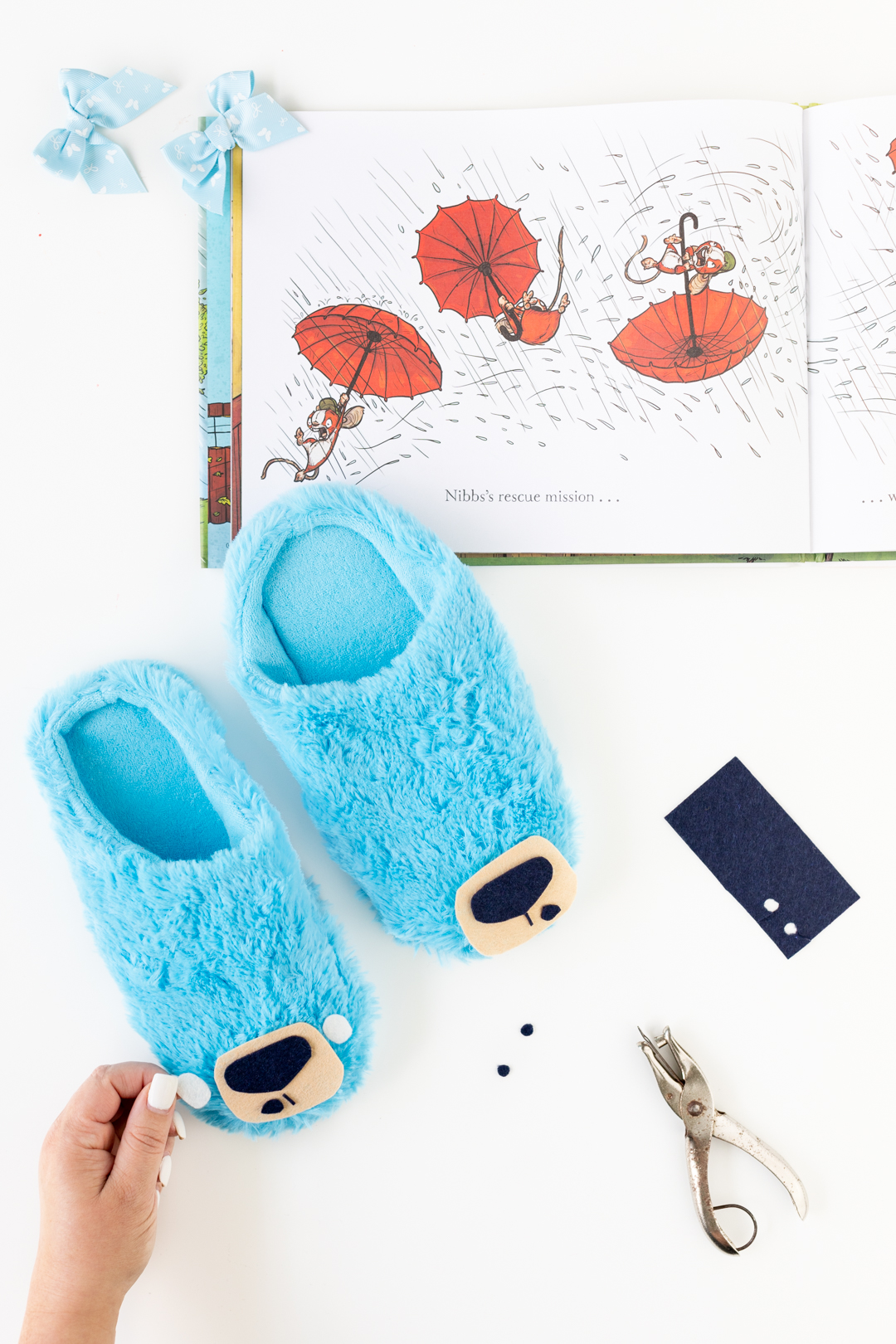 DIY Supplies to Make Blue Bruce Bear Slippers.