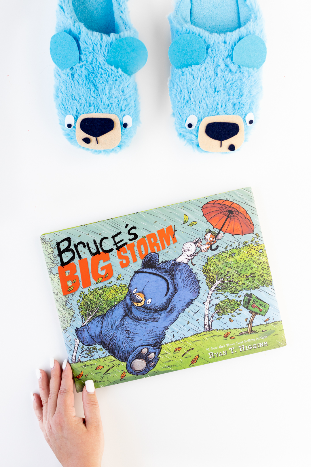 Bruce's Big Storm Book and cute Slippers.