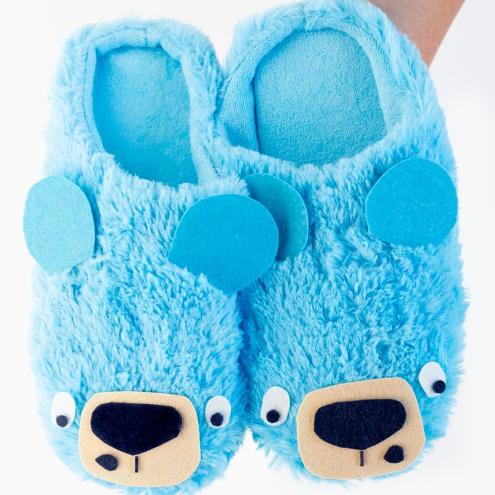 Fluffy Blue Bear Slippers