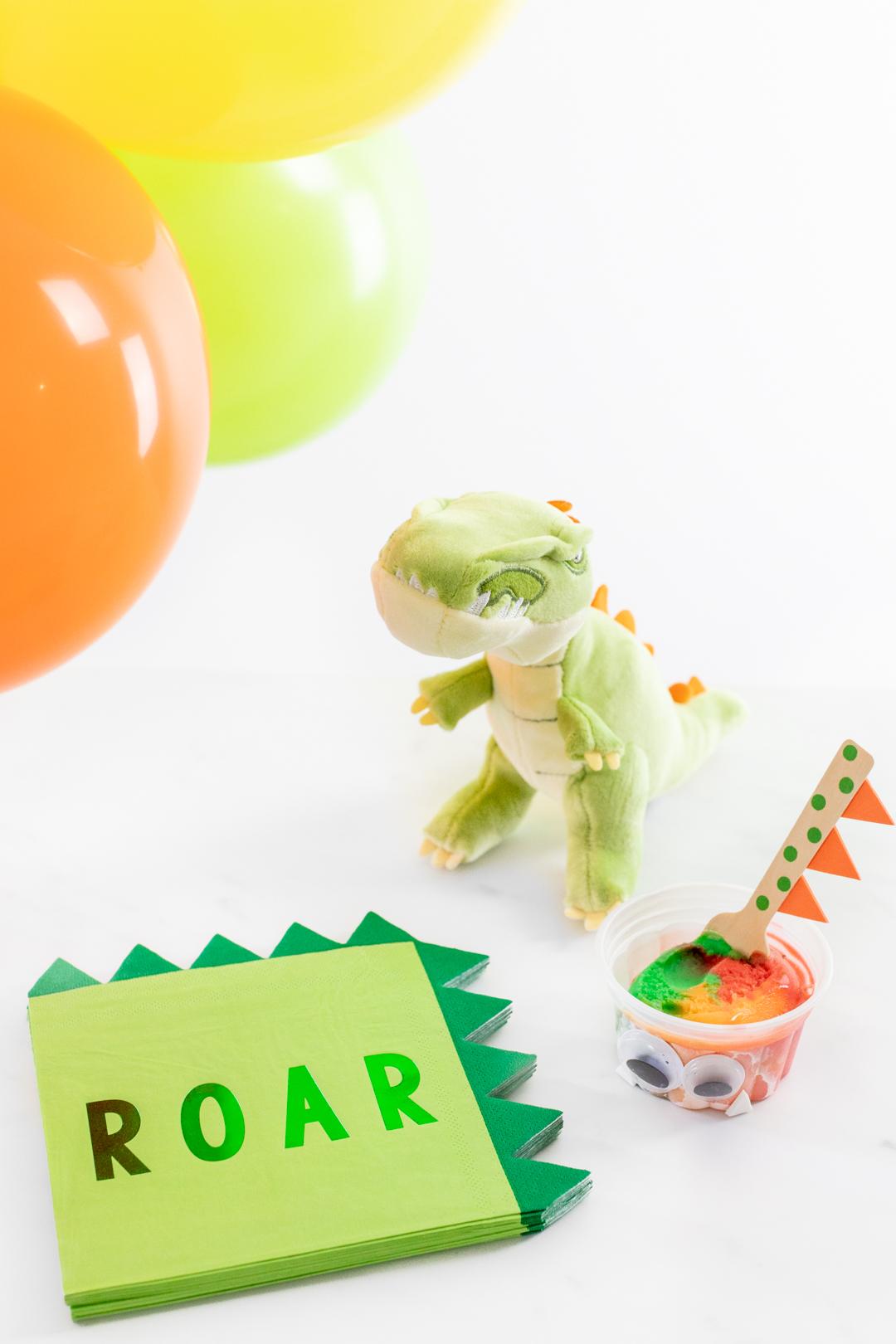 Adorable Dinosaur themed napkins that say Roar.