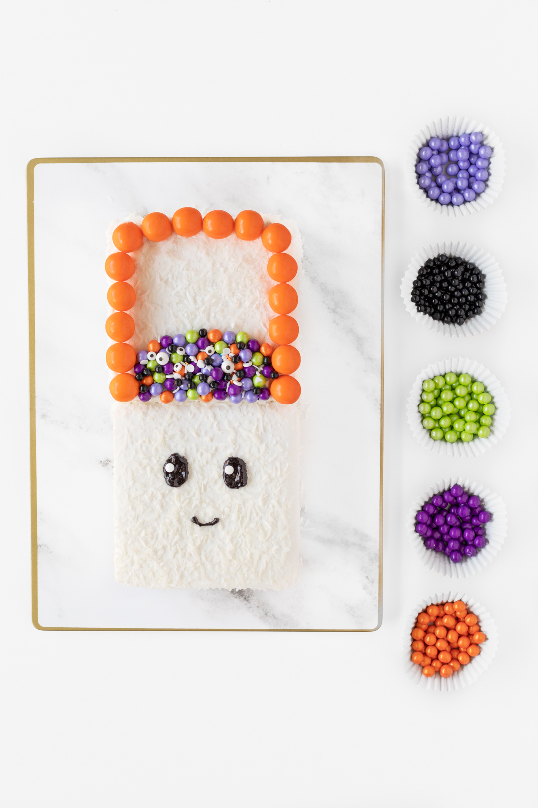 colorful candies to decorate halloween cake