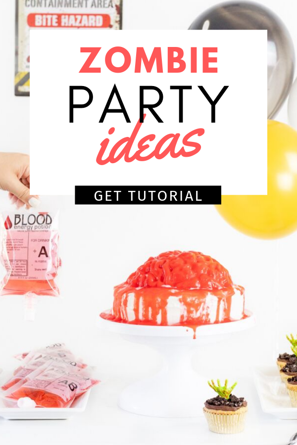 Epic Zombie Party Ideas for Halloween. Bloody brain cake recipe, zombie hand cupcakes and more.