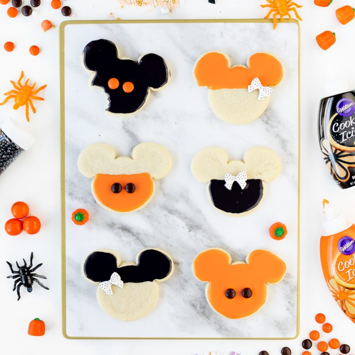 Orange and Black Mickey Halloween Cookies