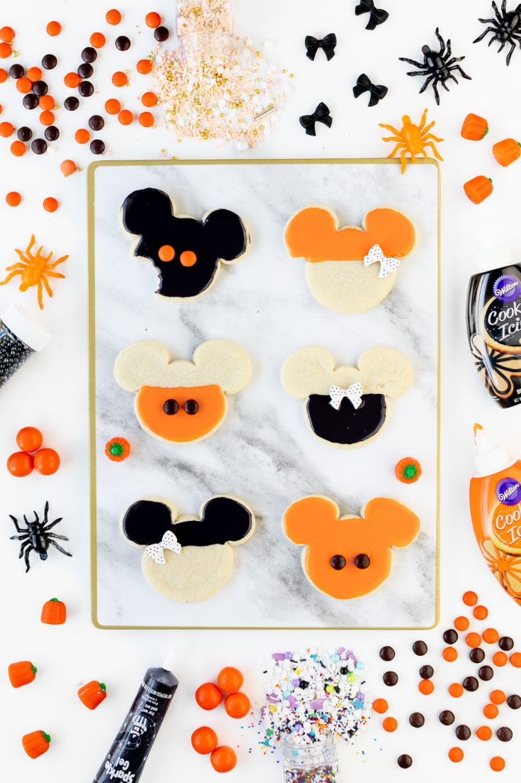 Orange and Black Mickey Halloween Cookies