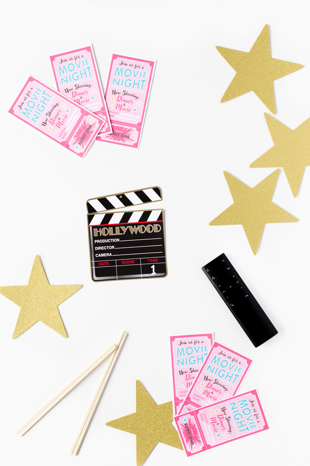 Movie night party decorations. Gold Stars, Movie Night Invitations.