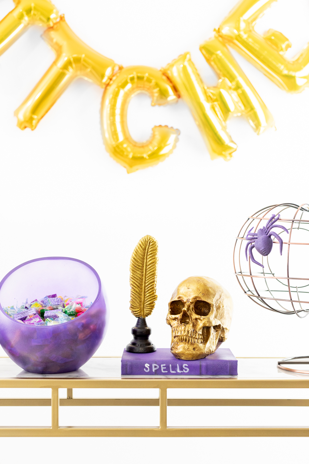 Console Makeover for Halloween with Purple and Gold