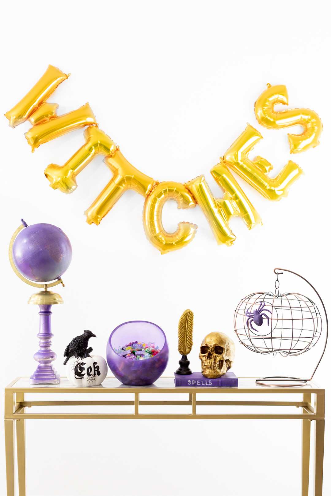 Purple and Gold Witch Console for Halloween