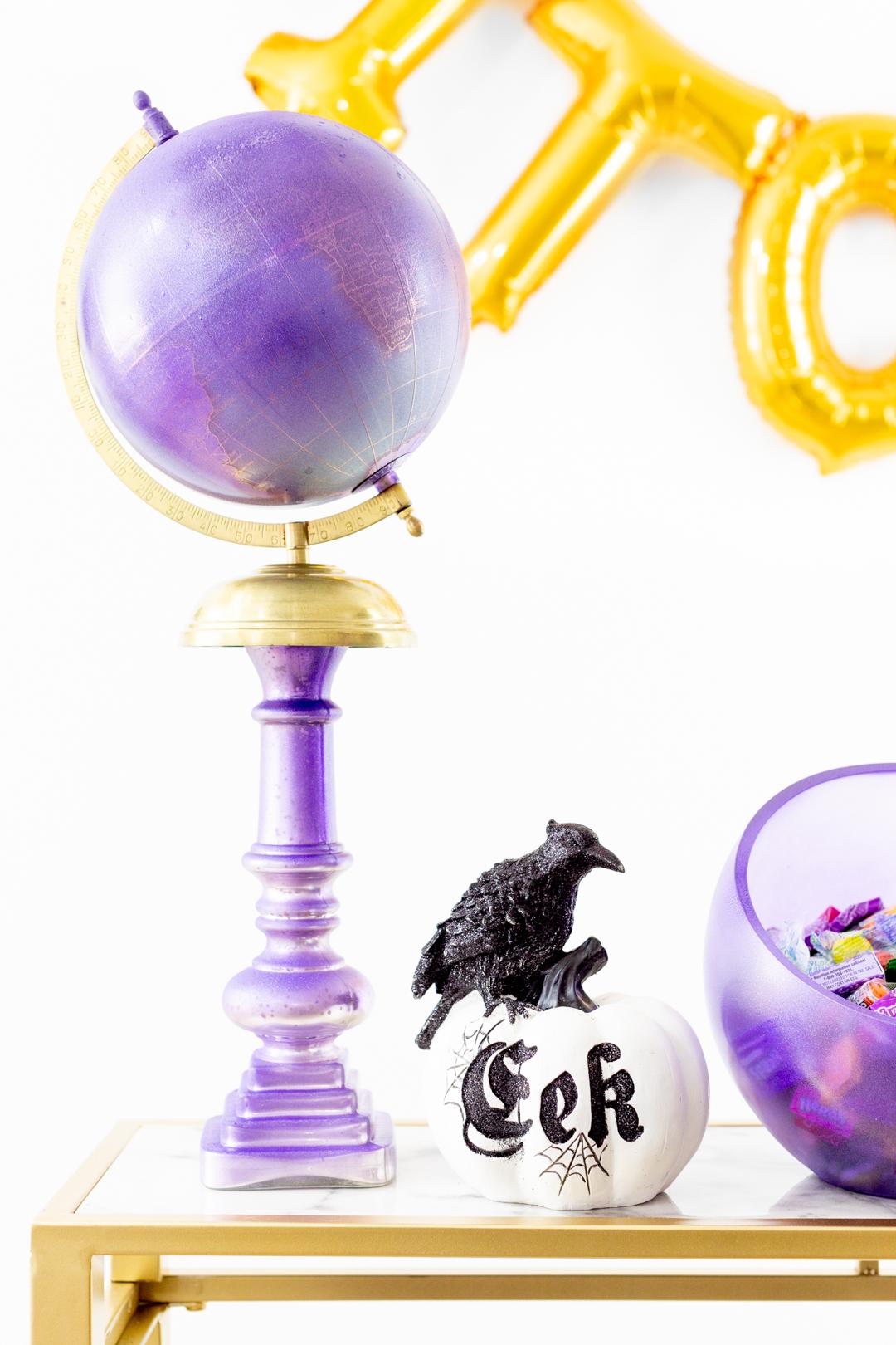 Purple Globe on a purple candlestick