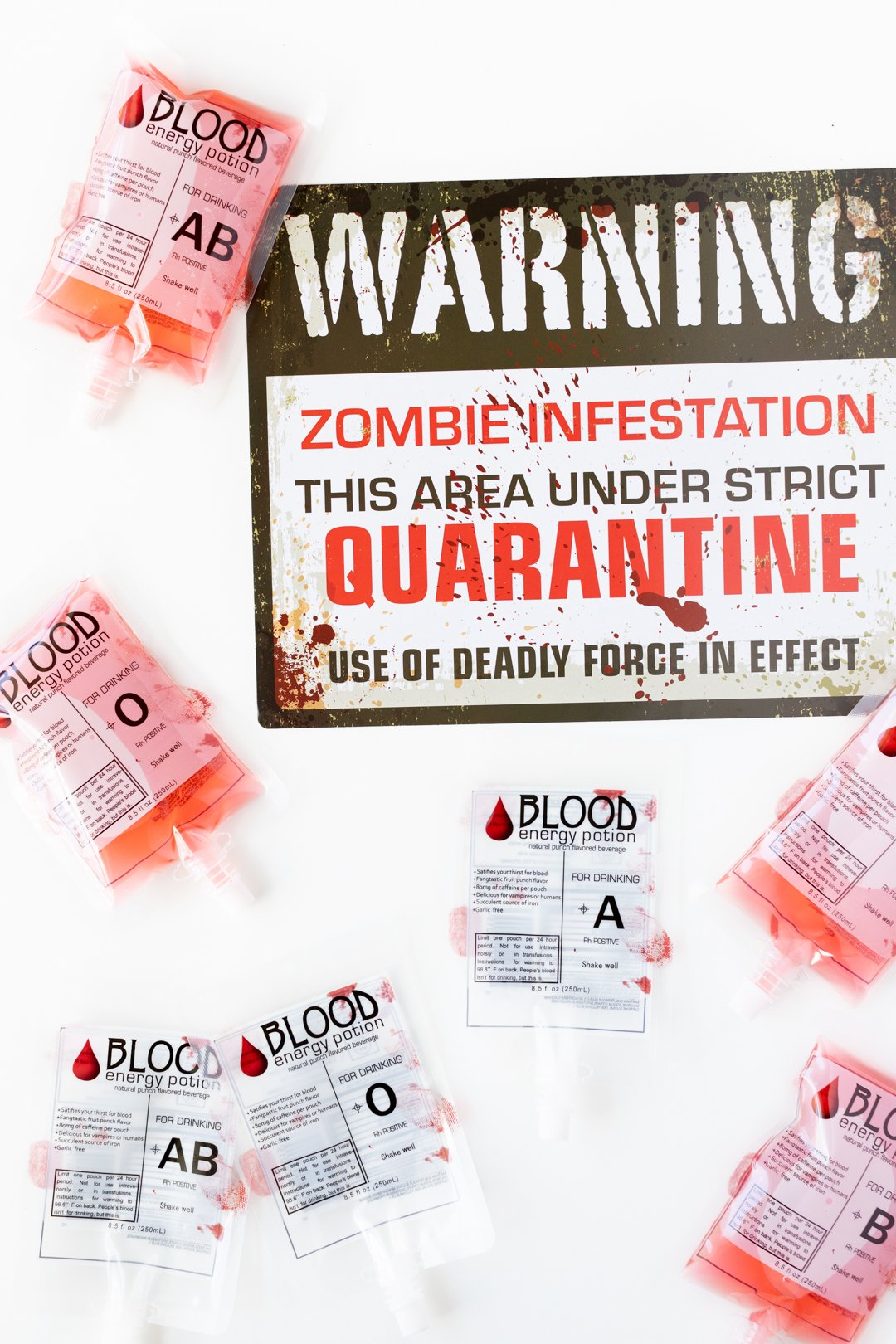 Zombie Infestation Sign with Blood Bag Drinks.