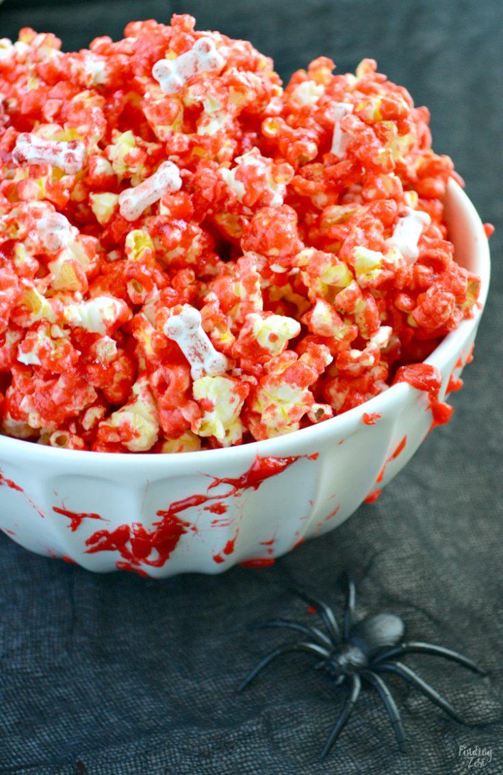 Bloody Popcorn with Bones for Halloween