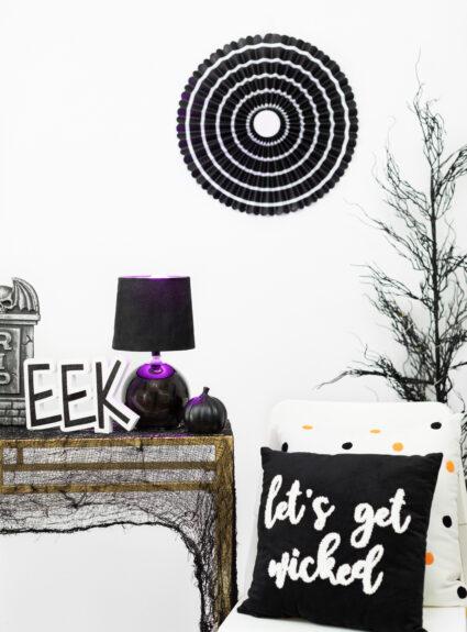 Purple color lighting on halloween display