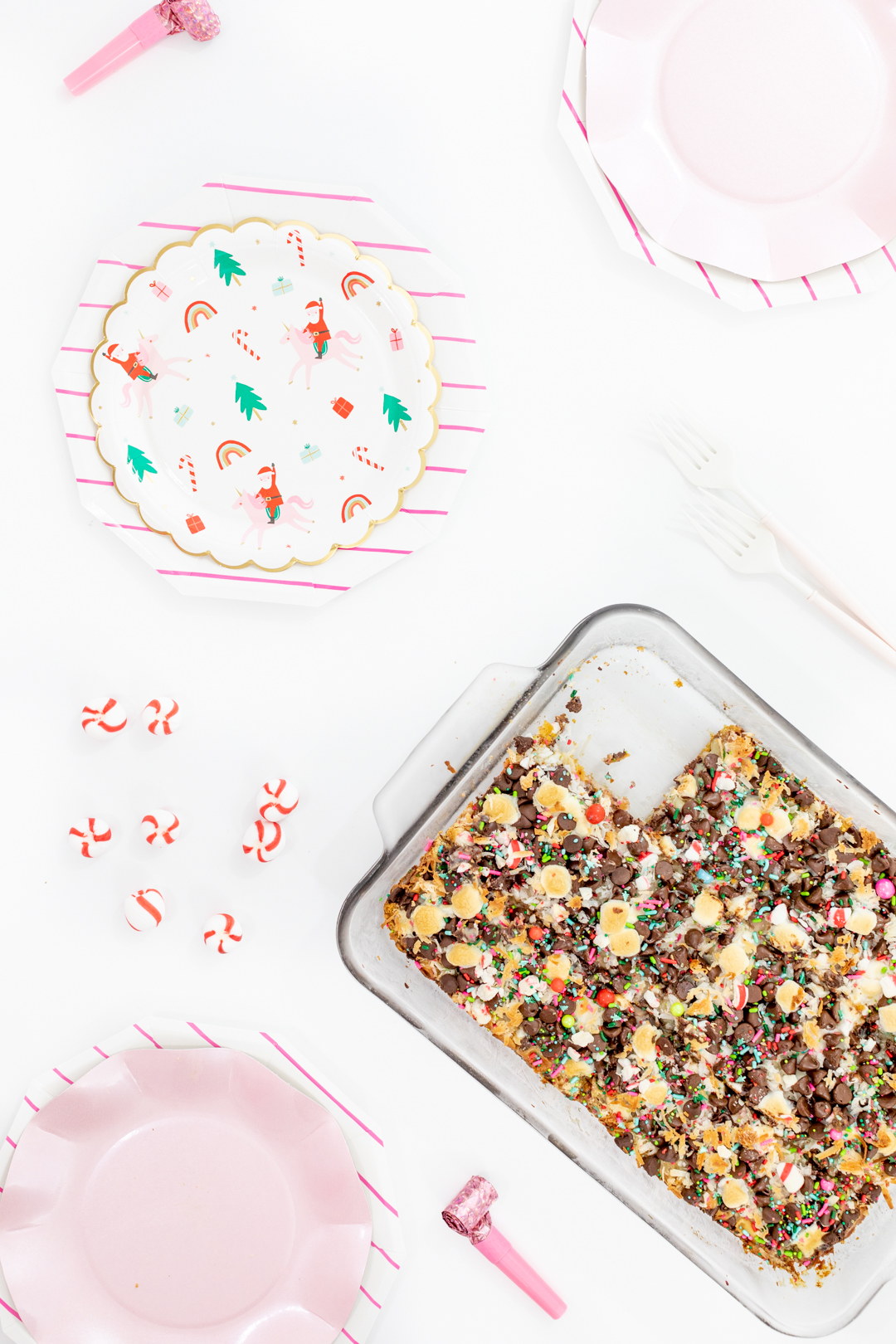 Magic Christmas Bars and Pretty Pink Christmas Tablescape.