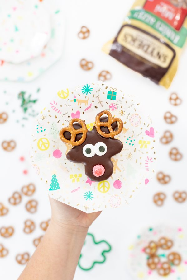 Chocolate covered mini reindeer cakes.