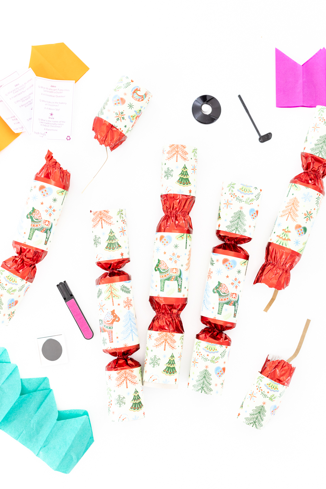 Christmas Crackers with Trinkets that come Inside.