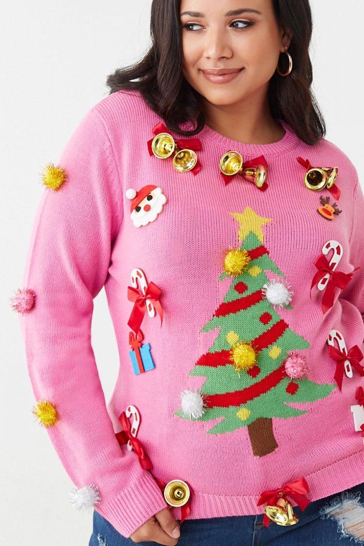 Plus Size Pom Pom Christmas Sweater