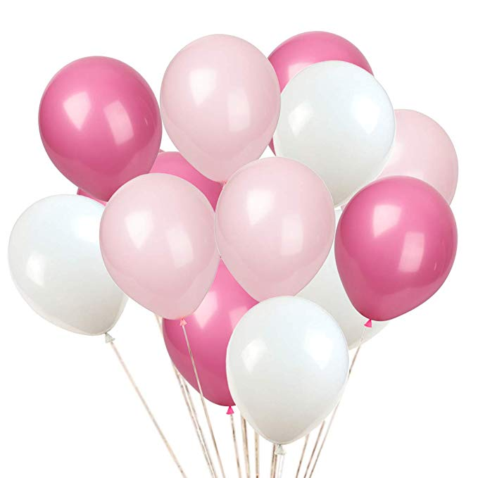 Pink, Rose and White Balloons