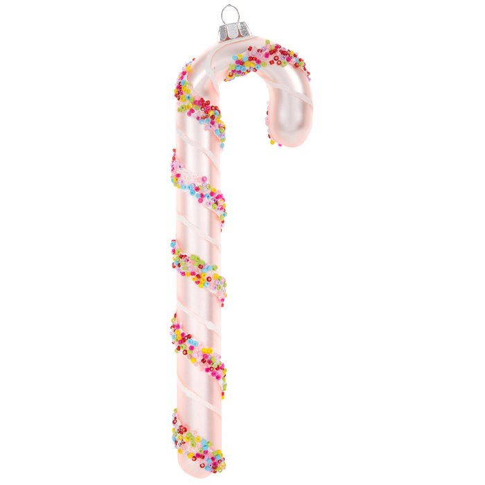 Pink Sprinkle Candy Cane Ornament