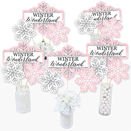 Pink Winter Wonderland Centerpiece Sticks