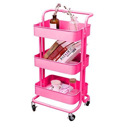 3-Tier Pink Storage Utility Cart