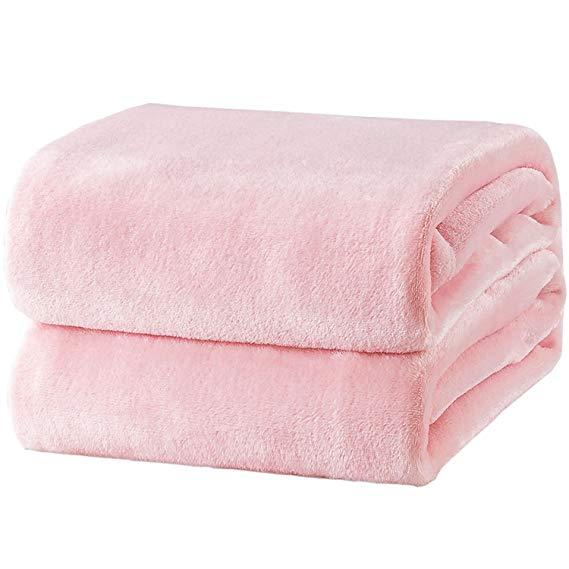 Pink Lightweight Throw Microfiber Blanket