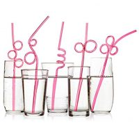 Pink Crazy Loop Party Drinking Straws